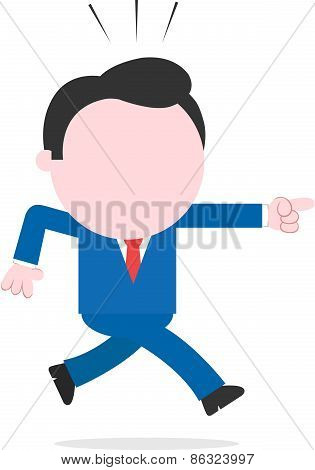 Businessman Running And Pointing