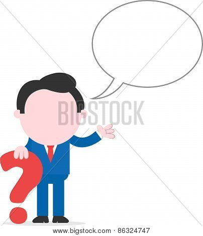 Businessman Leaning Question Mark