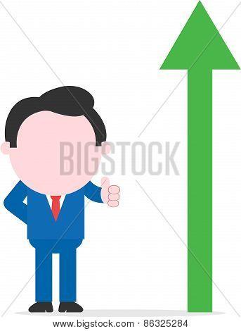 Businessman Thumb Up Beside Green Arrow