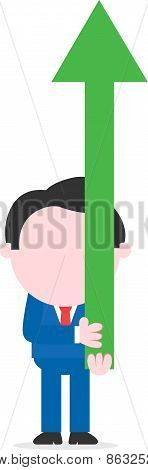 Businessman Lifting Green Arrow