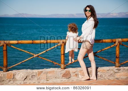 Mom And Daughter On Vacation