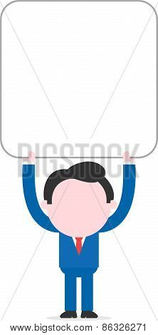 Businessman Holding Big Blank Square Banner Overhead