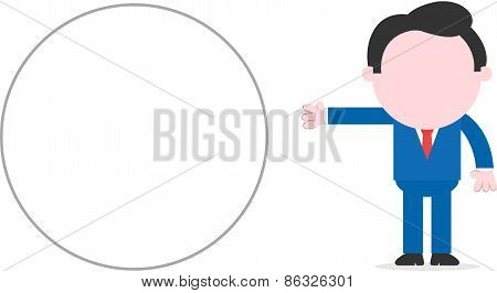 Businessman Beside Wide Blank Circle Banner