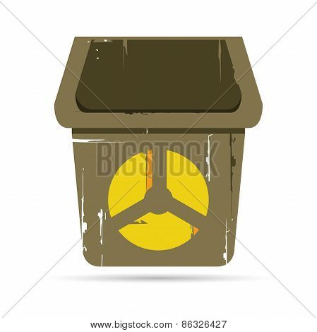 bin with radiation symbol