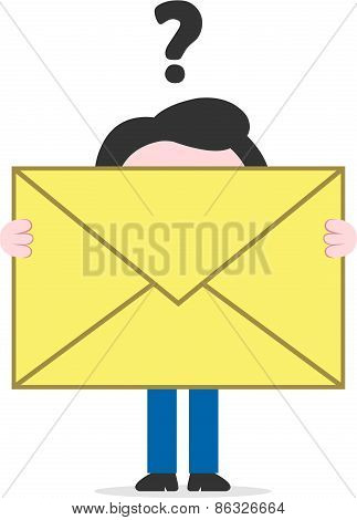 Confused Businessman Holding Mail Icon