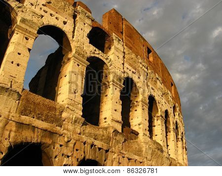 Detail from Coliseum of Roma in Italy