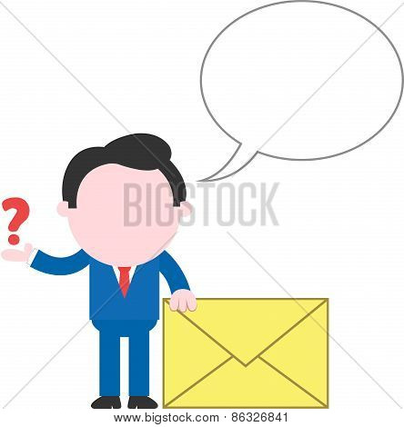 Businessman Holding Mail Icon And Showing Question Mark