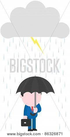 Businessman Carrying Umbrella Under Rain Lightning Grey Storm Cl
