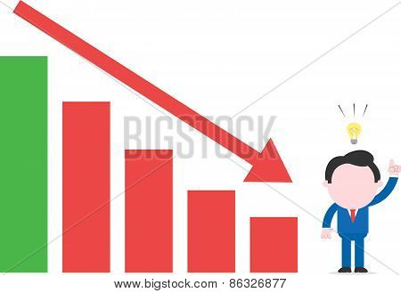 Businessman With An Idea Beside Bar Chart With Arrow Down