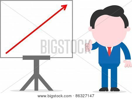 Businessman Beside Chart With Arrow Up