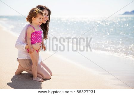 Happy Single Mom At The Beach