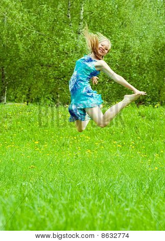 Jumps Long-haired Girl