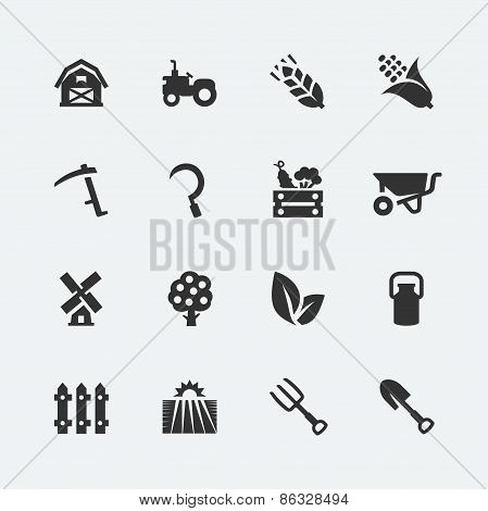 Farming Related Vector Icons Set