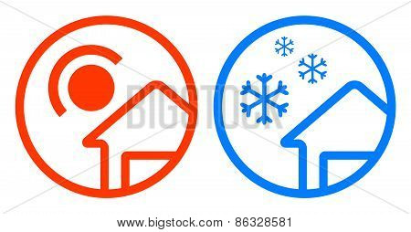 sun and snowflake icon set
