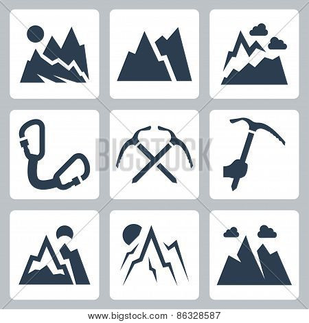 Mountains And Mountaineering Vector Icons Set