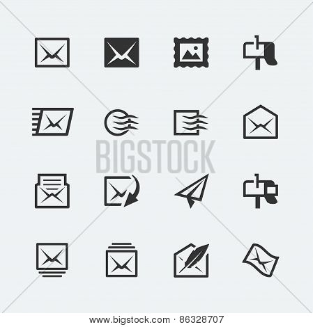 Post And Mail Related Vector Icons Set