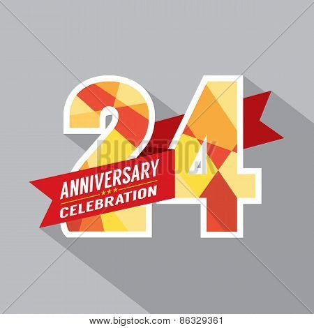 24Th Years Anniversary Celebration Design.
