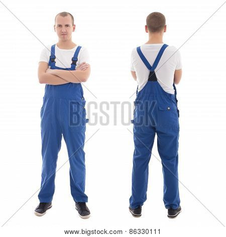 Front And Back View Of Young Handsome Man In Blue Workwear Isolated On White