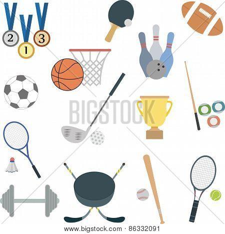 set of flat sport icons