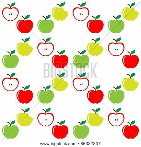Seamless pattern of set apples