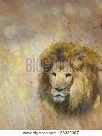 Digital Painting Of African Lion