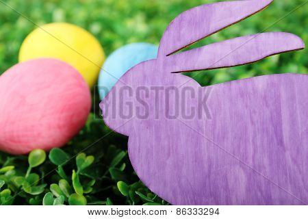 Rabbit With Colorful Easter Eggs