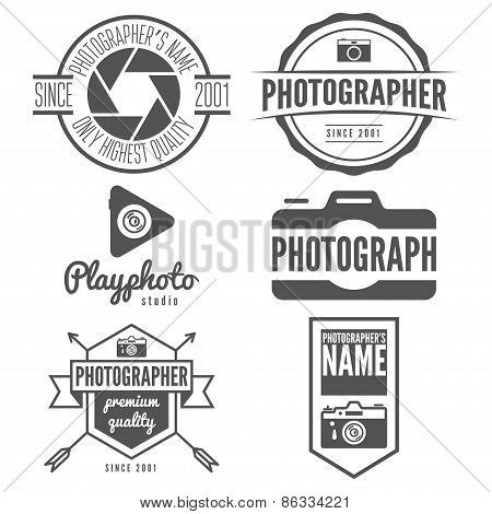 Set of logo, emblem, print, sticker, label or logotype elements for studio or photographer, photogra