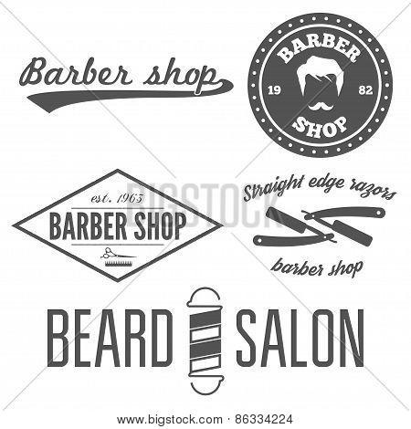 Set of vintage barber shop logo, labels, prints, badges and design element