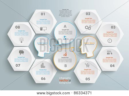 6 Hexagons 2 Heads Speech Infographic