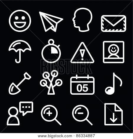 website navigation menu white line, stroke icons on black