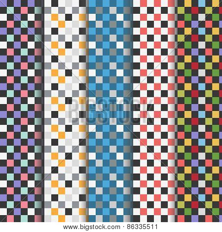 Set of abstract colorful checkered seamless patterns