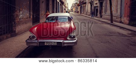 An old american car on the Havana street