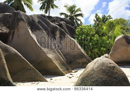 Huge granite boulders on the beach Anse Source DArgent