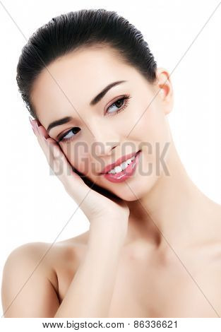 female face and hands, white background, copyspace