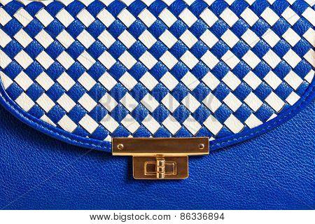 Fashionable women's blue leather bag.