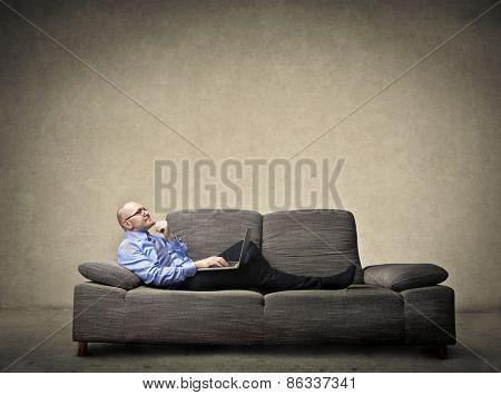 Manager relaxing on the sofa