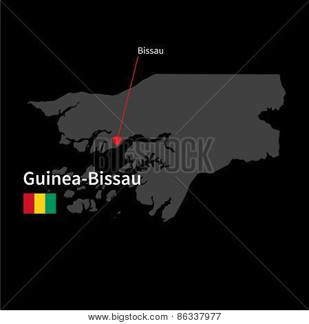 Detailed map of Guinea-Bissau and capital city Bissau with flag on black background
