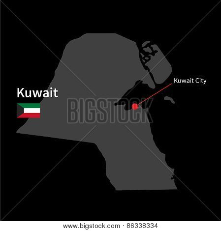 Detailed map of Kuwait and capital city Kuwait City with flag on black background