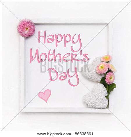 Greeting card for mother's day with white hearts and pink daisy flowers in shabby chic style.