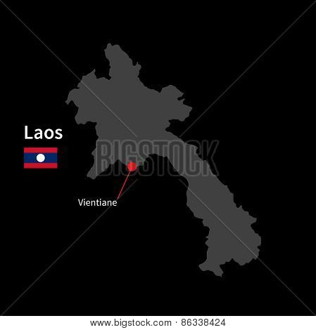 Detailed map of Laos and capital city Vientiane with flag on black background