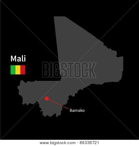 Detailed map of Mali and capital city Bamako with flag on black background