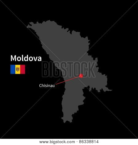 Detailed map of Moldova and capital city Chisinau with flag on black background