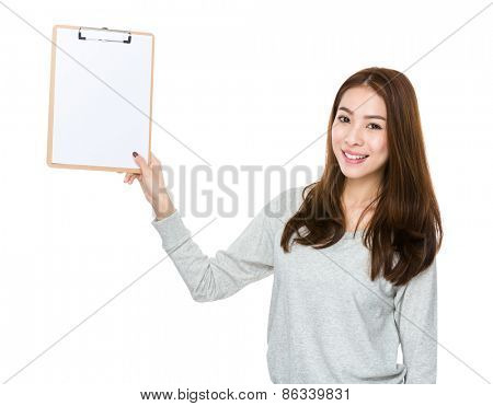 Woman show with empty clipboard