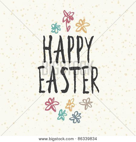 Easter greeting card. Easter design with abstract spring flowers, egg shaped.