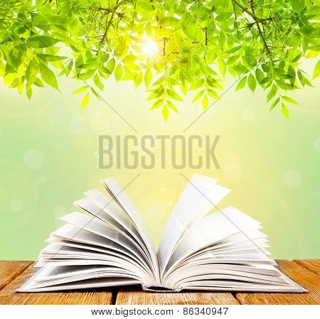 Opened book on table on nature background