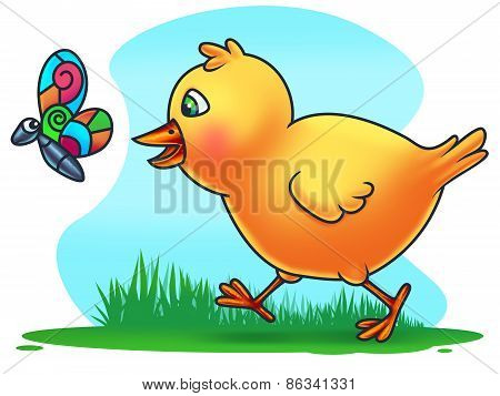 Easter Chicken Chasing a Butterfly