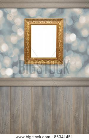 Advertising wall with antique gilt frame