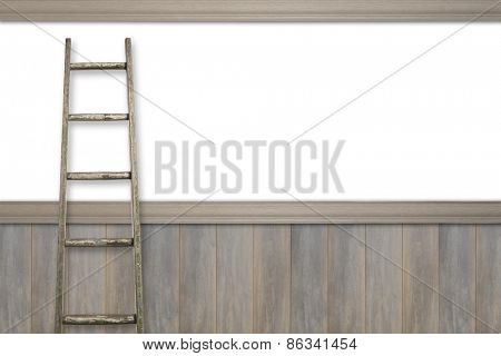 Advertising space with rustic ladder against white and wooden panel wall