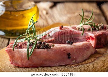 Raw Lamb Chop Ready For Frying.