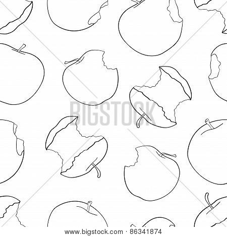 Delightful Garden - Seamless Pattern Of A Lot Of Bitten Apple